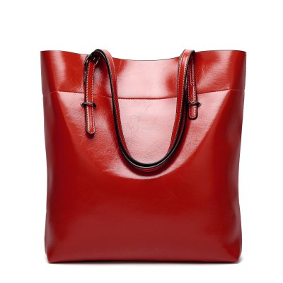 Women Oil PU Leather Tote Handbags Casual Solid Color Shoulder Bags