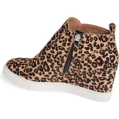 Women Wedge Heel Plus Size Leopard Booties Casual Shoes