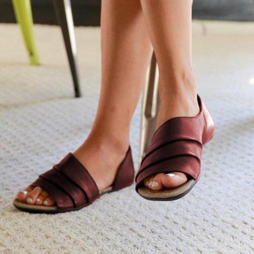 Layeren PU Peep-Toe Hollow Sandals