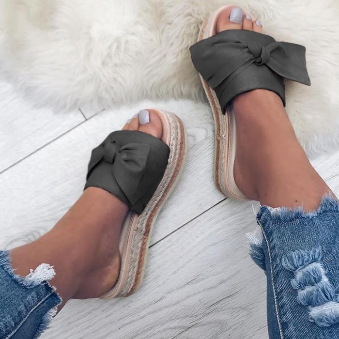 Women Bow Platform Mules Shoes