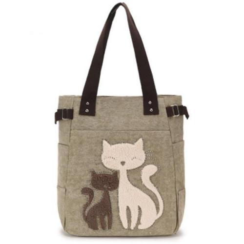 Casual Cute Cat Large Capacity Canvas Handbag Shoulder Bag Totes