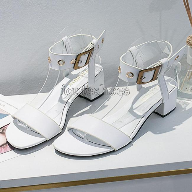 genuine cow leather sheepskin chunky heels women Shoes elegant party sandals woman