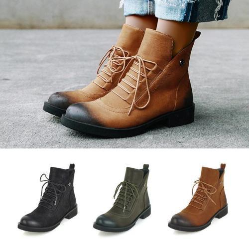 Women Non-Slip Lace-Up Wear Resistant Fashion Ankle Boots