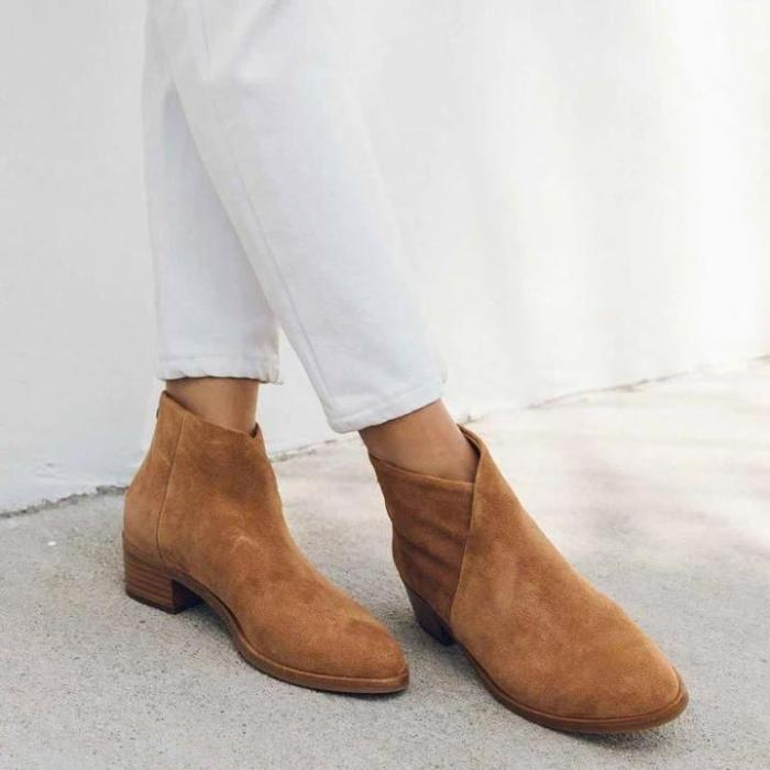 Contracted ladies pure color round-toed ankle boots