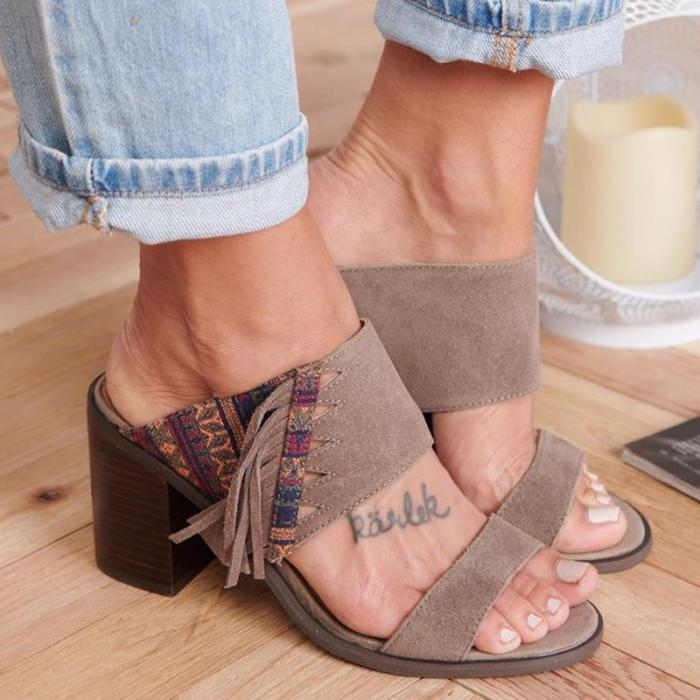 Women Casual Shoes Double Strap Chunky Heel Sandals