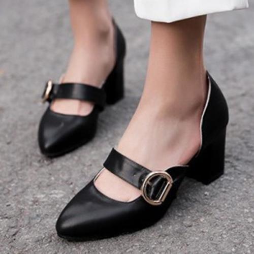 Summer Work Chunky Heel Round Toe Shoes