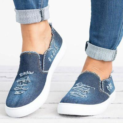 Casual Loafers Worn Hole Round Toe Slip-On Flat Shoes