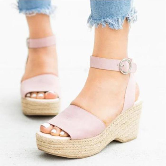 Women's PU Peep Toe Adjustable Buckle High Wedge Sandals