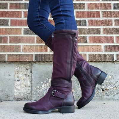 Chic Zipper Low-heel Riding Boots