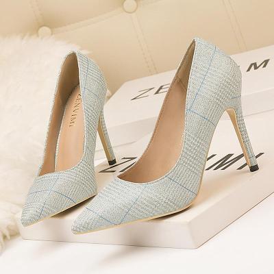 Fashion Slim Heel Shiny Lattice Pointed Sexy Night Shop Thin Women Single Shoes High Heels