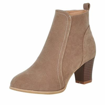 Ankle Boots fashion suede leather boots high heel ladies shoes