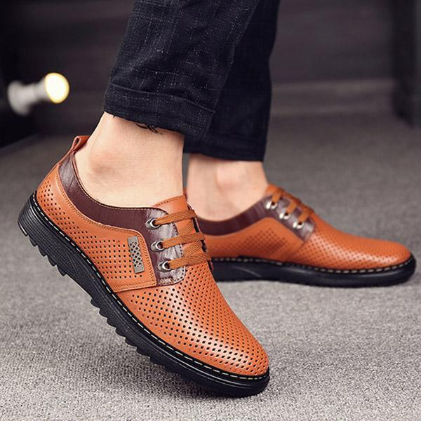 Mens Breathable Hollow Out Lace Up Casual Flats