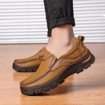 Mens Slip-on Casual Outdoor Genuine Leather Flat Shoes