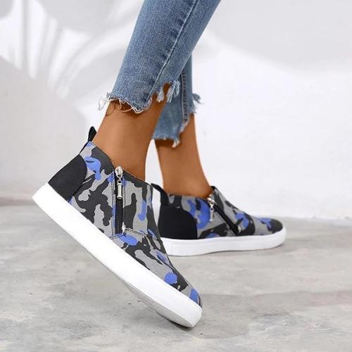Round Toe Platform Zipper Daily Sneakers