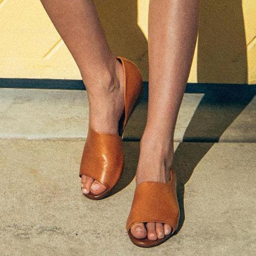Peep Toe Solid Fashion Low-Heels Sandals