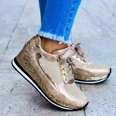 Casual Shiny Wedge Sneakers