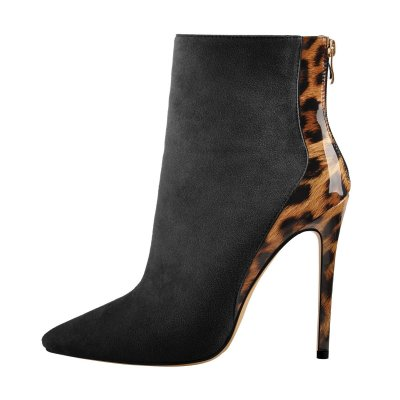 Black Suede Leopard Patent Leather Stitching Pointed Toe Ankle Boots