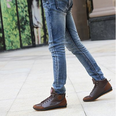 Men's leather splicing plate high help casual shoes