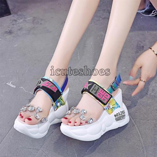 Fashion Transparent Diamond Wedge Sandal Rhinestone High Heels Chunky