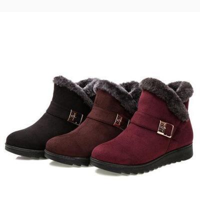 Women Suede Wedge Heel Fleece Lined Buckle Slip On Boots