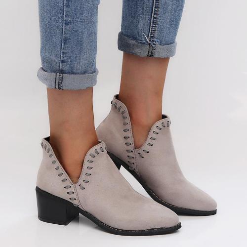 Pointed Toe Deep V Side Closure Chunky Heel Boots
