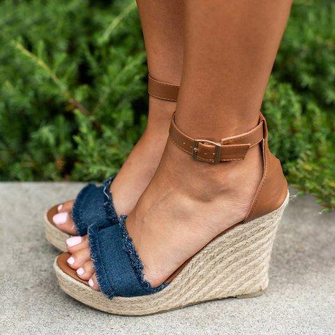 Women Canvas Wedge Sandals Plus Size Adjustable Buckle Shoes