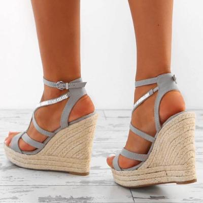 Fashion Cross Strap Woven Wedge High Heel Sandal