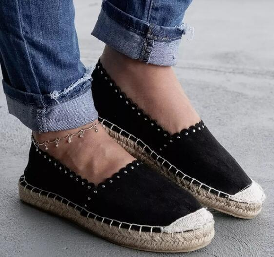 Women Elegant Daily Spring Summer Straw Flax Canvas Shoes Round Toe Walking Flat Loafers