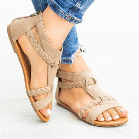 Women Flat Heel Holiday Casual Zipper Sandals