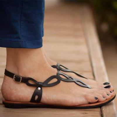 Women's PU Flip-flops Round Toe Hollow-out Adjustable Buckle Flat Sandals