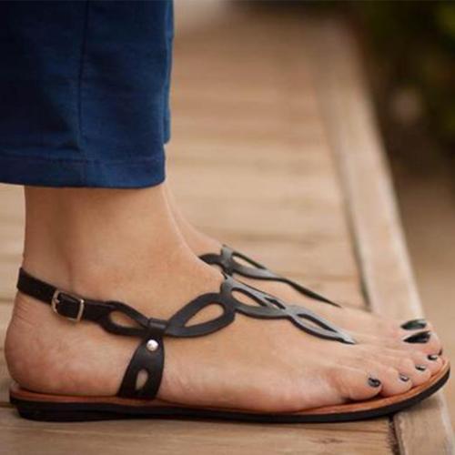 Women's PU Flip-flops Round Toe Hollow-out Adjustable Buckle Flat Sandals