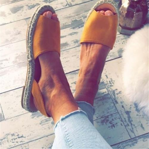 Summer Espadrilles Fashion Peep Toe Flat Sandals