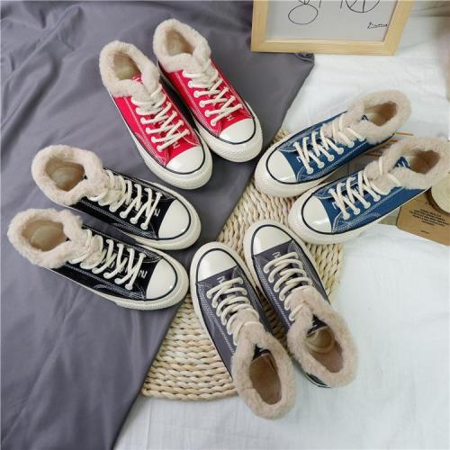 Women Winter Flat Shoes Lace-up Cotton-padded Boots Shoes