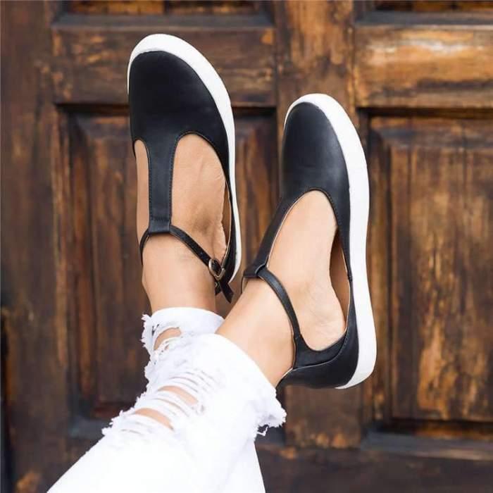 Leather Shoes Comfy Platform Flats Sole Ladies Casual Soft Slides Buckle
