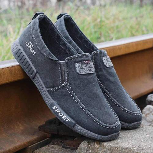Mens Casual Canvas Slip-on Soft Sole Flats