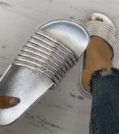 Rhinestone Stripes Pu Slippers Women Casual Outdoor Shoes