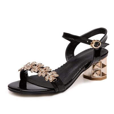 Rhinestone Chunky Heel Summer Date Sandals