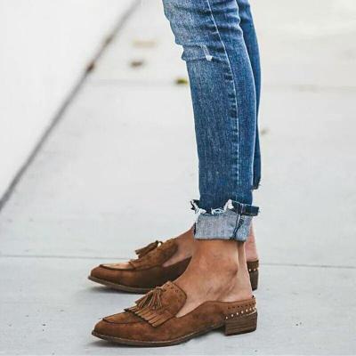 Daily Elegant Suede Tassel Mid-heel Flats