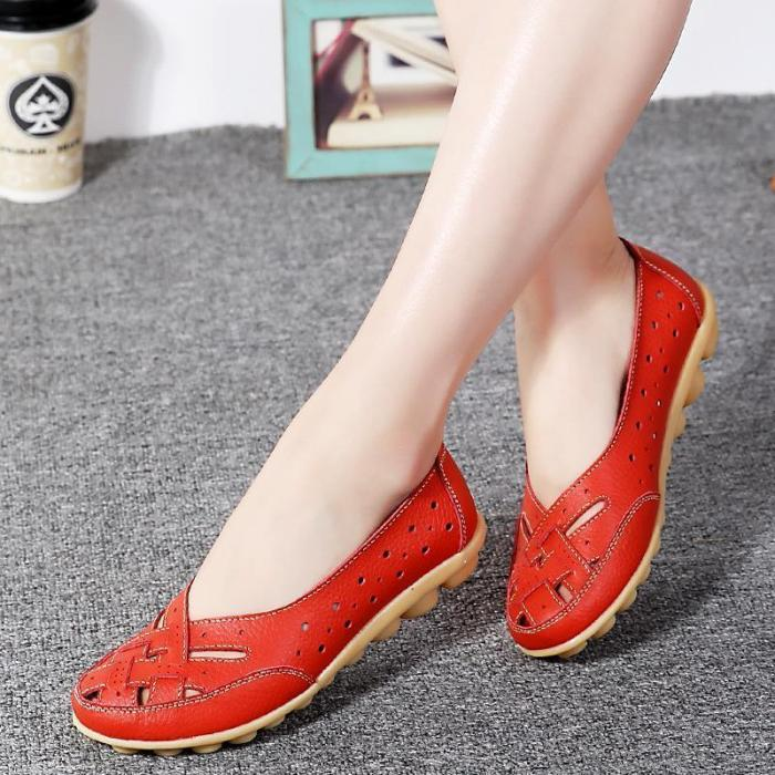 Hollow-out Dress Leather Non Slip Flats