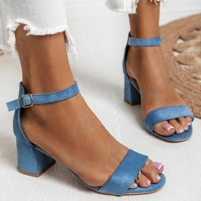 Open Toe Chunky Heel Adjustable Buckle Sandals