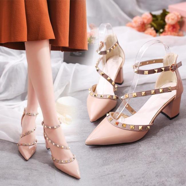 Fashion Rivets Sandals Comfortable High Heels Shoes