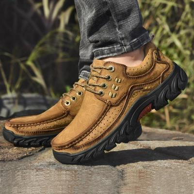 Men Fashion Slip-on Lace-up Genuine Leather Retro Outdoor Hiking Flats