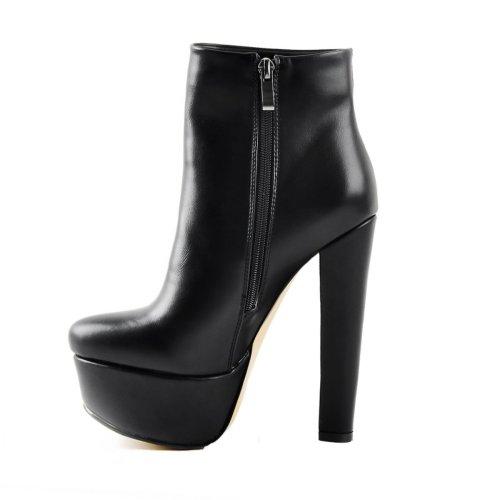 Black Platform Round Toe Chunky Heel Elastic Ankle Boots