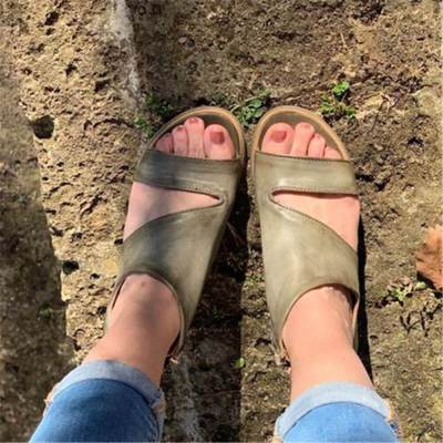 Olive Green Chunky Heel  Sandals