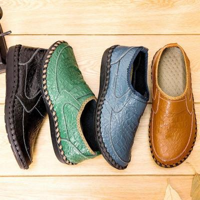 Men Hand Stitching Comfy Slip On Soft Driving Casual Shoes