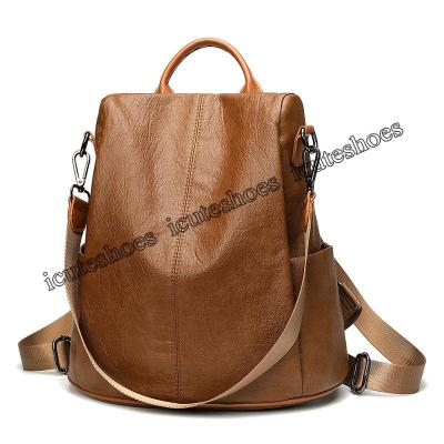 Backpack female new personality student street bag fashion casual soft leather backpack