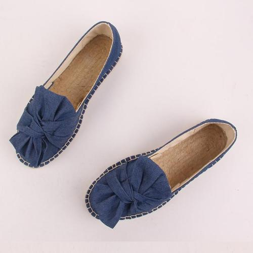 Spring Summer Women Canvas Flat Slip On Comfortable Bow-knot Loafer