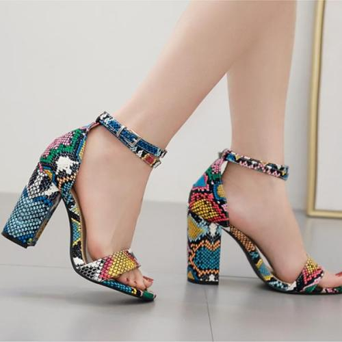Summer New Style Colorful Snake Pattern Simple and Versatile Thick Heel Women's Sandals