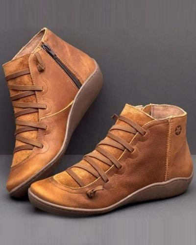 Leatherette Lace-Up Ankle Bootie