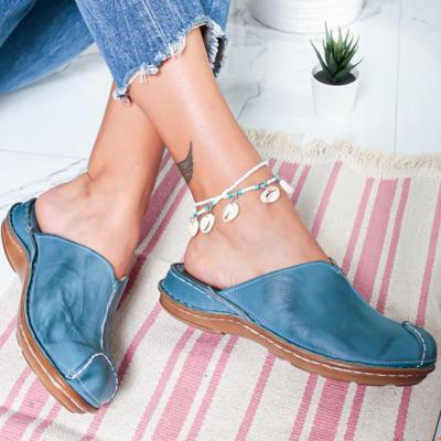 Summer Beach Sandals Wedges Vintage Shoes Woman Low Heels Sandalias Slippers Slides
